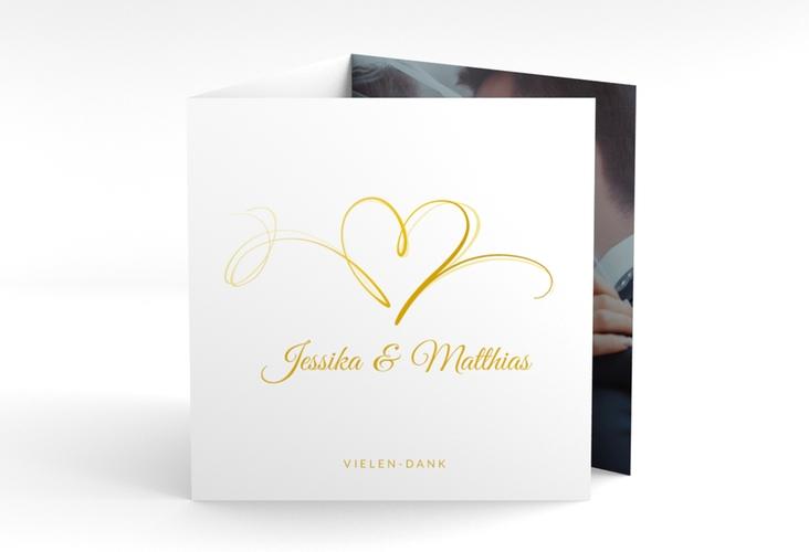 """Dankeskarte Hochzeit """"Envie"""" Quadr. Karte doppelt gold"""