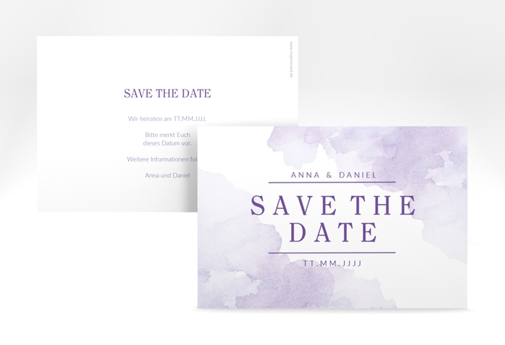 "Save the Date-Karte ""Blush"" A6 quer lila"