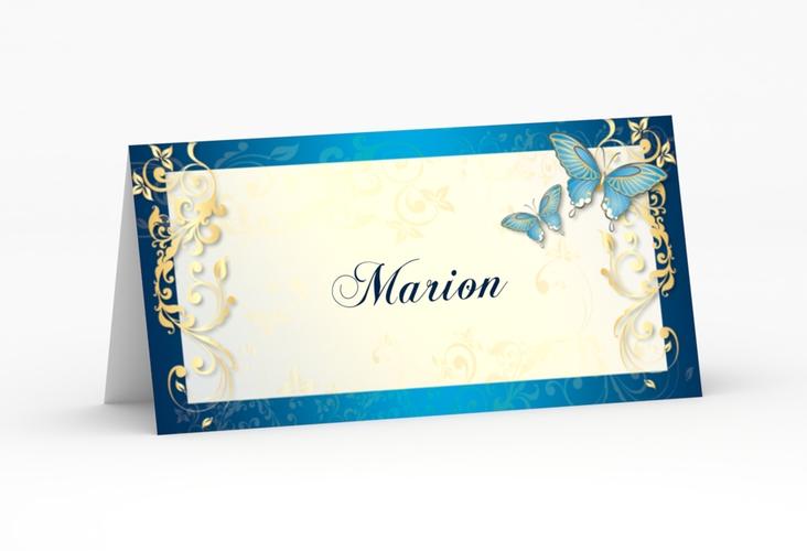 """Tischkarte Hochzeit """"Toulouse"""" Tischkarten blau"""
