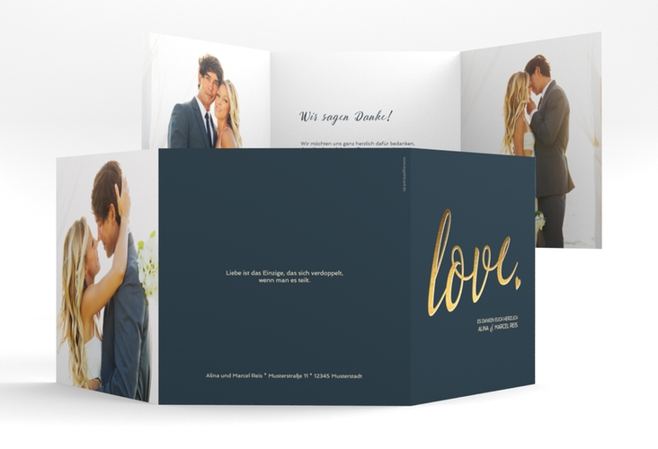 "Dankeskarte Hochzeit ""Glam"" Quadr. Karte doppelt blau"
