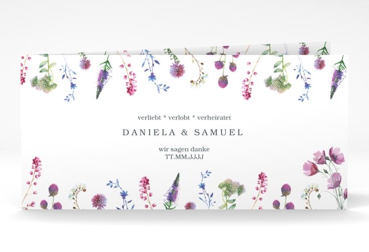 """Dankeskarte Hochzeit """"Wildblumen"""" DIN lang Klappkarte"""