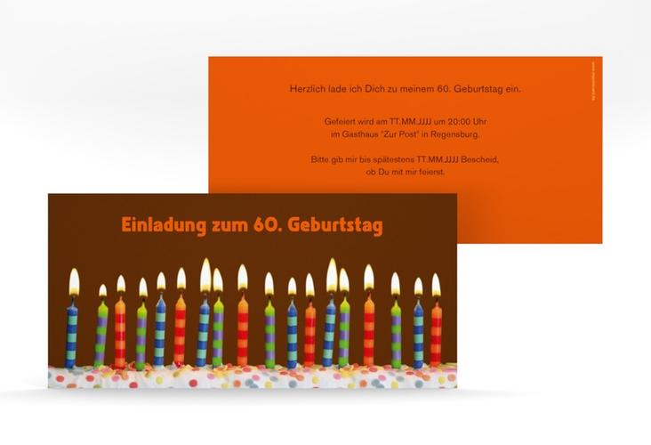 "Einladungskarte ""Candles"" DIN lang braun"