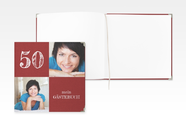 "Gästebuch Selection Geburtstag ""Lebensfreude"" Leinen-Hardcover rot"