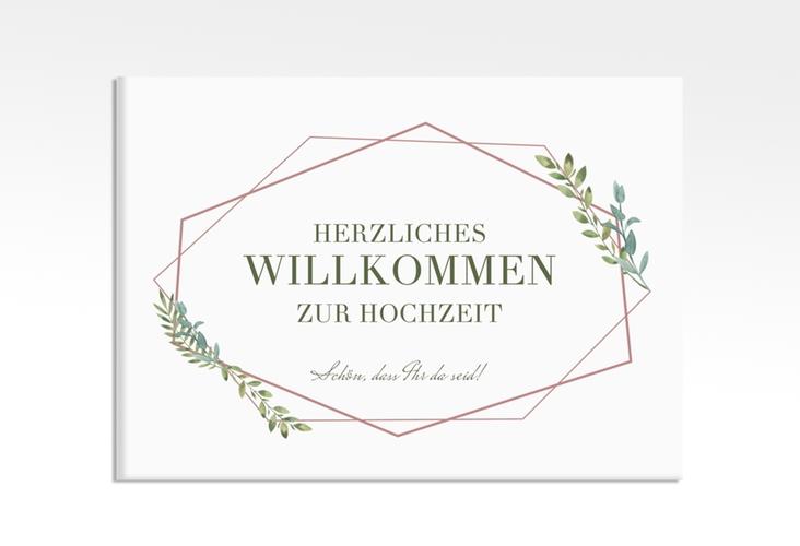 """Willkommensschild Leinwand """"Herbarium"""" 70 x 50 cm Leinwand rosa"""