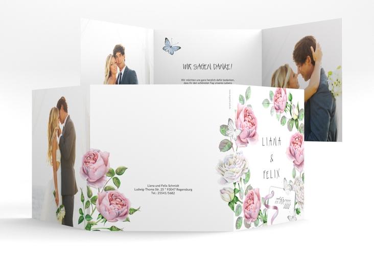 "Dankeskarte Hochzeit ""Primavera"" Quadr. Karte doppelt weiss"