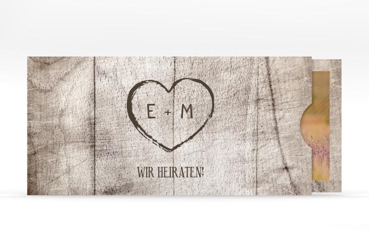 """Hochzeitseinladung """"Wood"""" Einsteckkarte weiss"""
