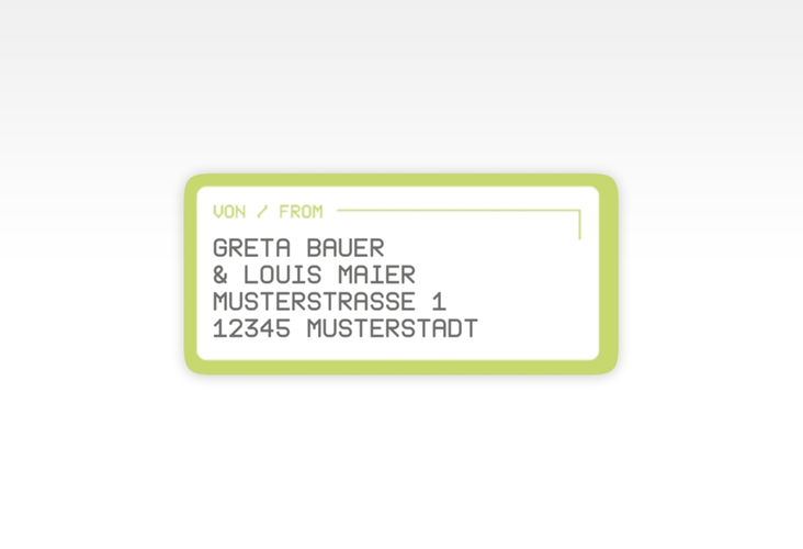 """Absenderetikett Hochzeit """"Weddingpass"""" 45,7 x 21,2 mm gruen"""