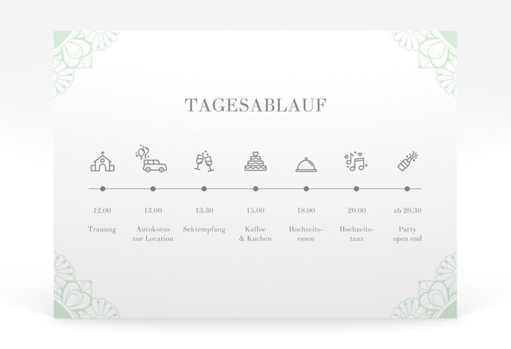 """Tagesablauf Poster Hochzeit """"Nostalgie"""" 70 x 50 cm Poster mint"""