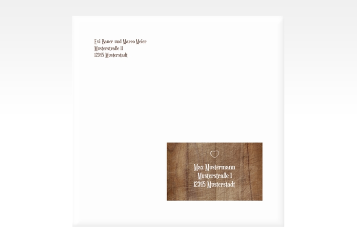 "Kuvert quadratisch ""Wood"" Quadratisch braun"