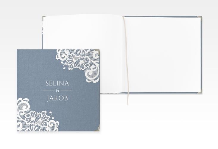 """Gästebuch Selection Hochzeit """"Vintage"""" Leinen-Hardcover blau"""