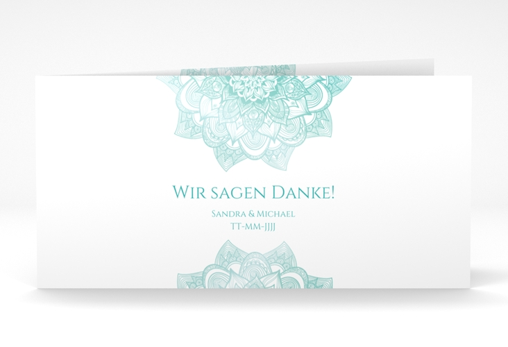 "Danksagungskarte Hochzeit ""Delight"" DIN lang Klappkarte mint"