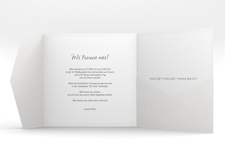 """Hochzeitseinladung """"Herzensbund"""" Pocketfold schwarz"""
