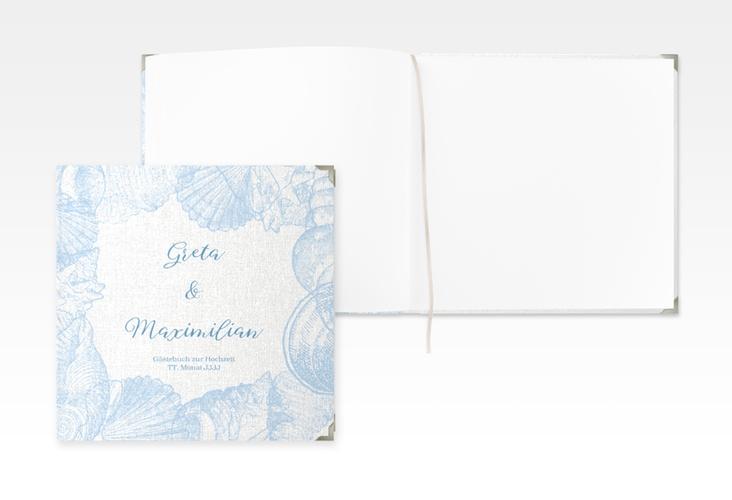 """Gästebuch Selection Hochzeit """"Muschelreich"""" Leinen-Hardcover blau"""