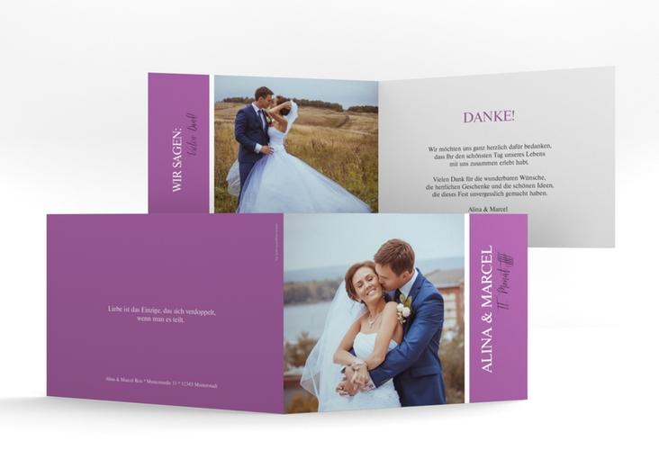 """Danksagungskarte Hochzeit """"Classic"""" A6 Klappkarte Quer lila"""