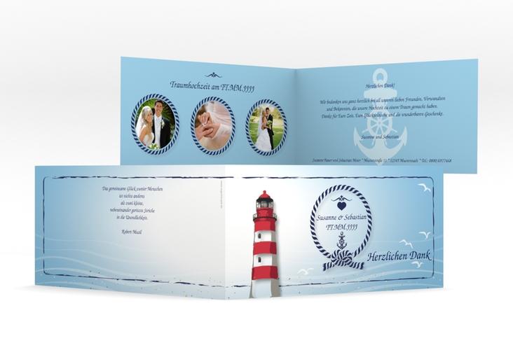 "Danksagungskarte Hochzeit ""Sylt"" DIN lang Klappkarte blau"