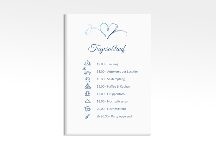 "Tagesablauf Leinwand Hochzeit ""Envie"" 50 x 70 cm Leinwand blau"