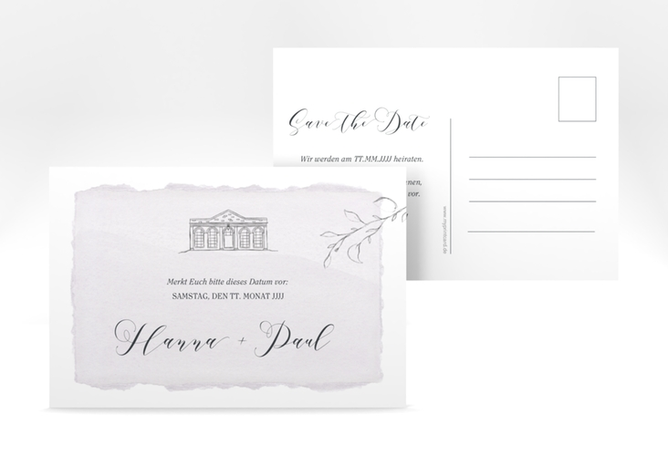 "Save the Date-Postkarte ""Villa"" A6 Postkarte flieder"