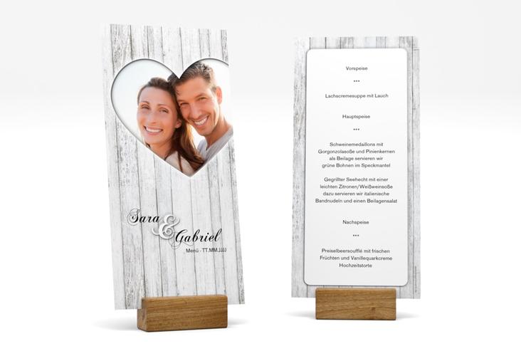 """Menükarte Hochzeit """"Herz"""" DIN lang hoch"""