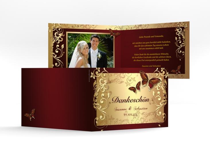 """Danksagungskarte Hochzeit """"Toulouse"""" A6 Klappkarte Quer rot"""