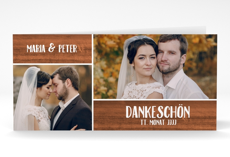 "Danksagung Hochzeit ""Landliebe"" DIN lang Klappkarte braun"