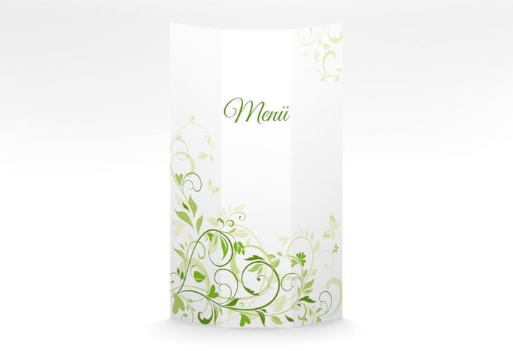 "Menükarte Hochzeit ""Lilly"" DIN A4 Wickelfalz gruen"