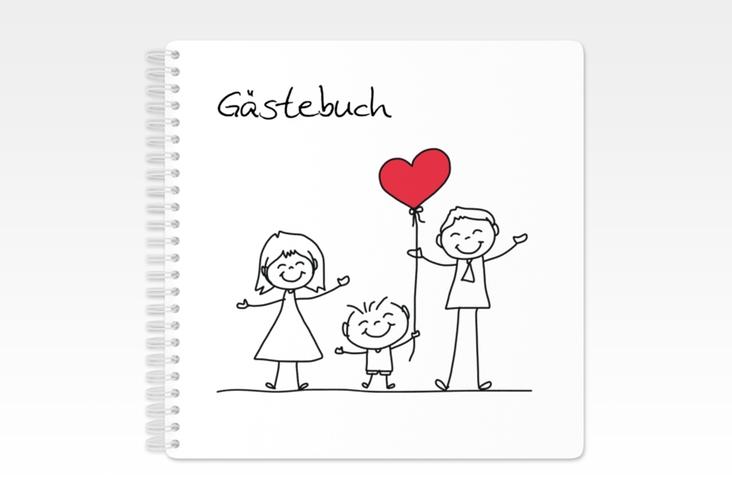 """Gästebuch Hochzeit """"Family"""" Ringbindung weiss"""