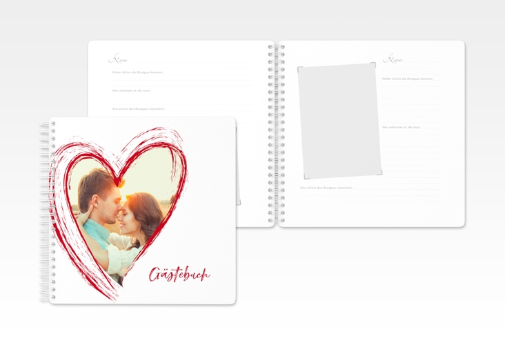 """Gästebuch Hochzeit """"Liebe"""" Ringbindung rot"""