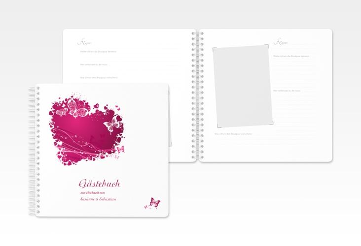 """Gästebuch Hochzeit """"Mailand"""" Ringbindung pink"""