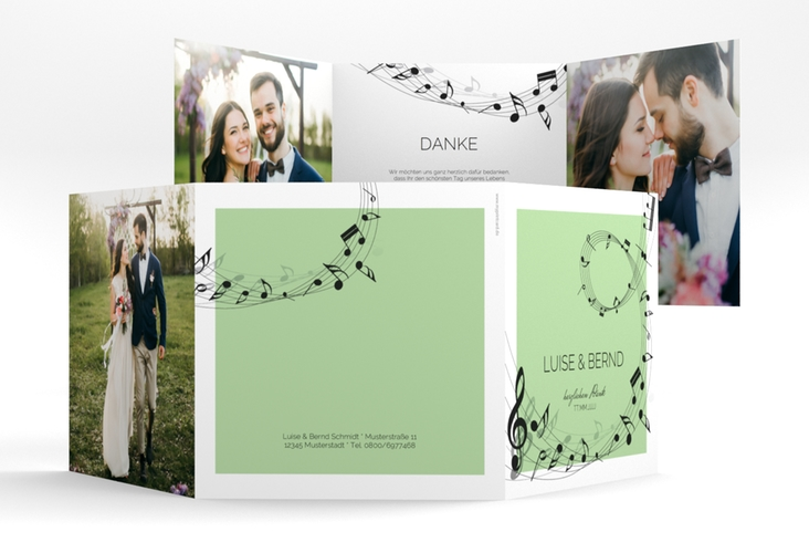 "Dankeskarte Hochzeit ""Melody"" Quadr. Karte doppelt"