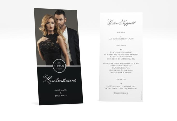 """Menükarte Hochzeit """"Elegancy"""" DIN lang hoch schwarz"""