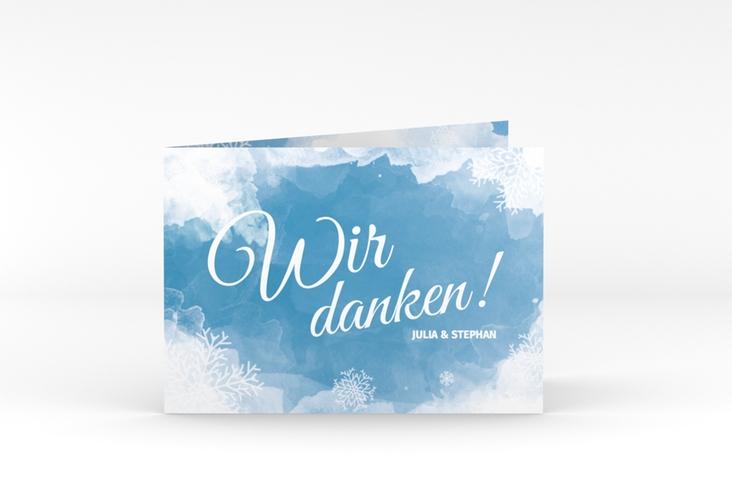 """Danksagungskarte Hochzeit """"Frozen"""" A6 Klappkarte Quer blau"""