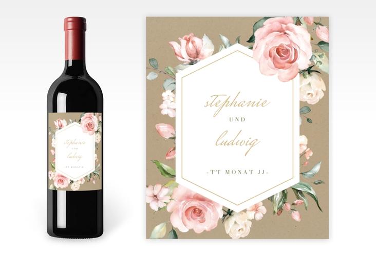 """Weinflaschenetikett Hochzeit """"Graceful"""" Etikett Weinflasche 4er Set"""