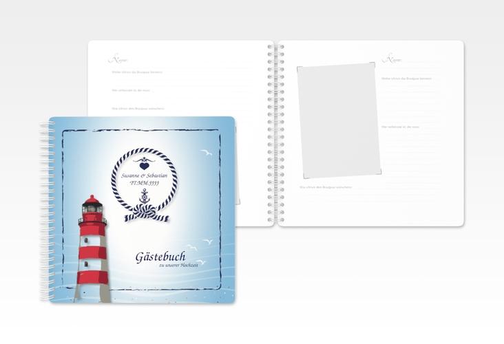 "Gästebuch Hochzeit ""Sylt"" Ringbindung blau"