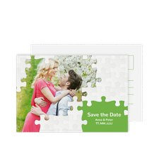 "Save the Date-Postkarte ""Puzzle"""