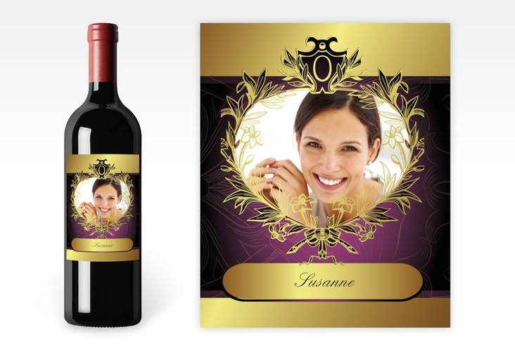 Weinflaschenetikett goldener Rahmen Etikett Weinflasche 4er Set