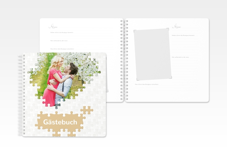 """Gästebuch Hochzeit """"Puzzle"""" Ringbindung beige"""