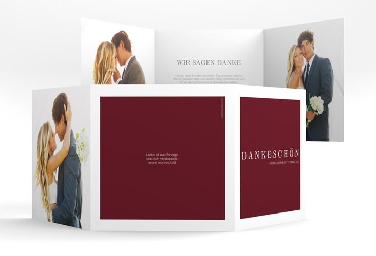 """Dankeskarte Hochzeit """"Simply"""" Quadr. Karte doppelt rot"""