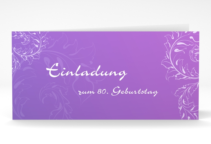 "Einladungskarte ""Peter/Petra"" DIN lang Klappkarte lila"
