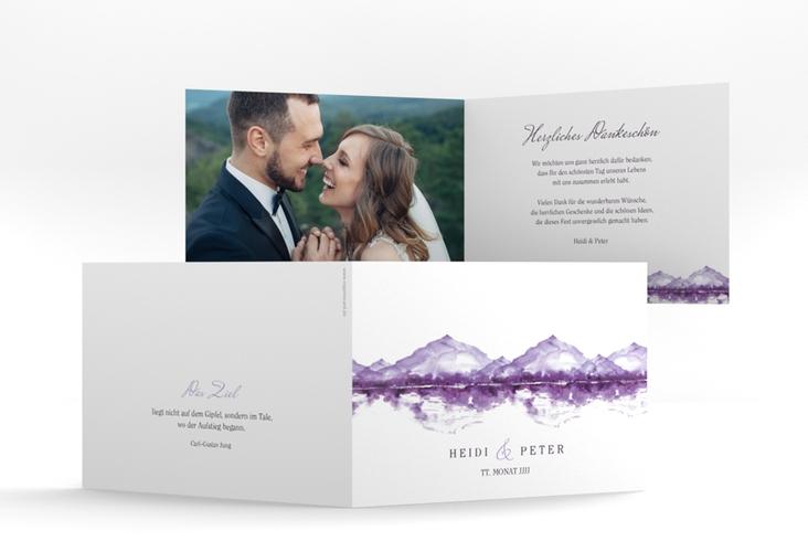 """Danksagungskarte Hochzeit """"Bergliebe"""" A6 Klappkarte Quer lila"""