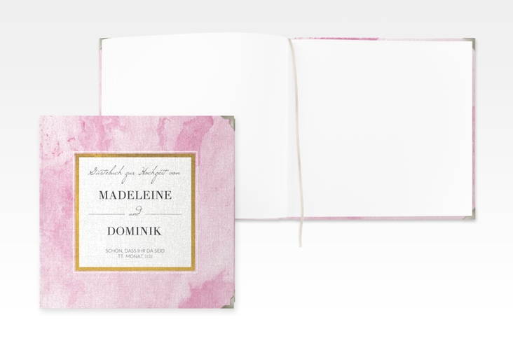"Gästebuch Selection Hochzeit ""Marble"" Leinen-Hardcover rosa"