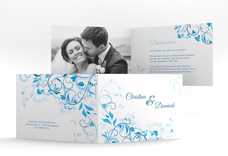 """Danksagungskarte Hochzeit """"Lilly"""" A6 Klappkarte Quer blau"""
