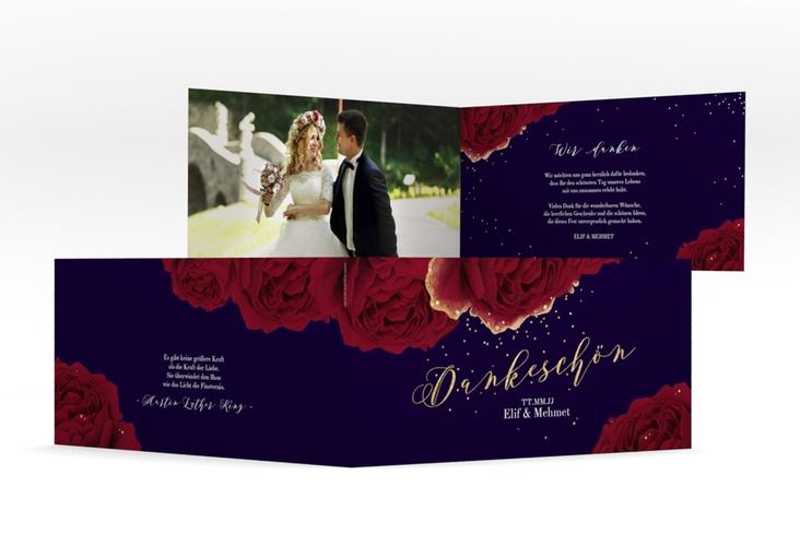 """Danksagung Hochzeit """"Cherie"""" DIN lang Klappkarte schwarz"""