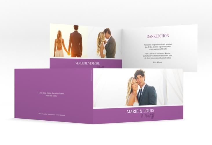 """Danksagungskarte Hochzeit  """"Balance"""" DIN lang Klappkarte lila"""