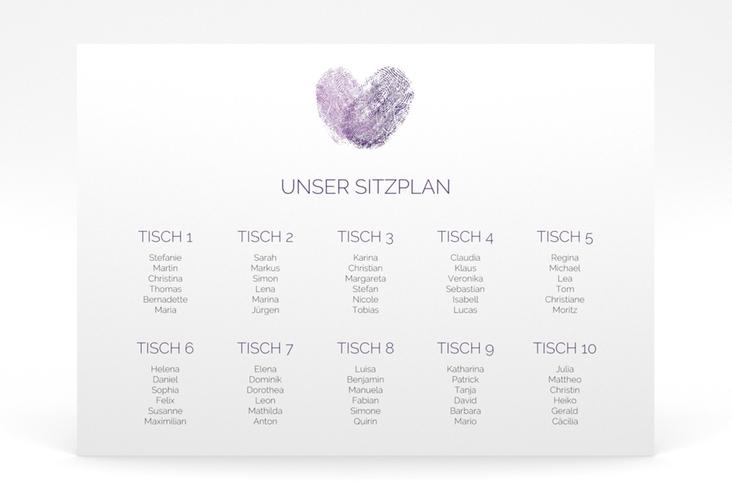 "Sitzplan Poster Hochzeit ""Fingerprint"" 70 x 50 cm Poster lila"