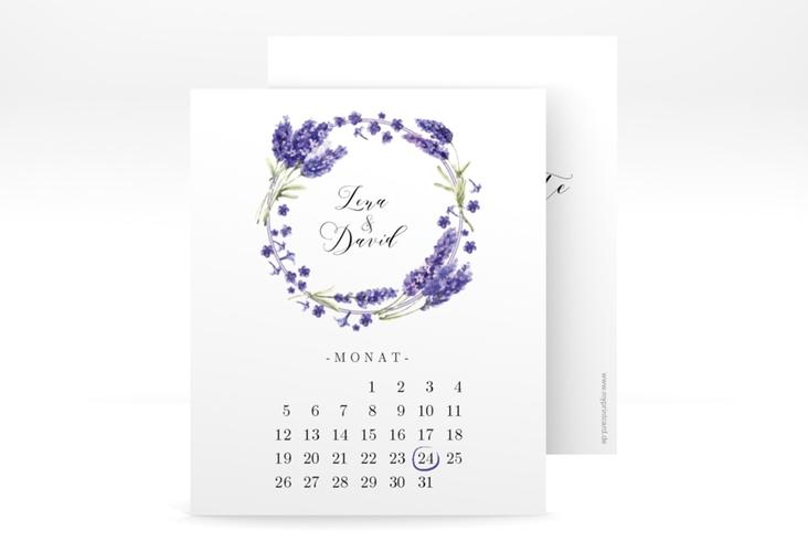 """Save the Date-Kalenderblatt """"Lavendel"""" Kalenderblatt-Karte weiss"""