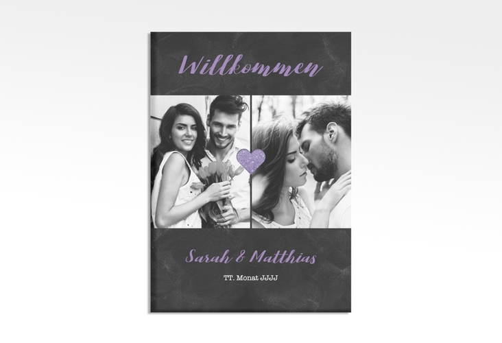 """Willkommensschild Hochzeit """"Sparkly"""" 50 x 70 cm Leinwand lila"""