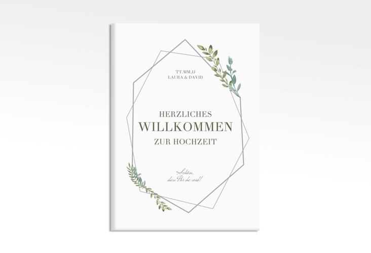"""Willkommensschild Leinwand """"Herbarium"""" 50 x 70 cm Leinwand grau"""
