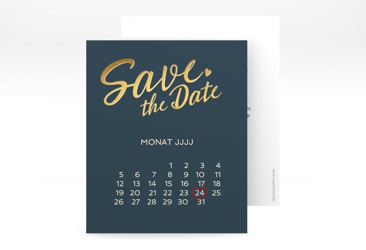 "Save the Date-Kalenderblatt ""Glam"" Kalenderblatt-Karte blau"