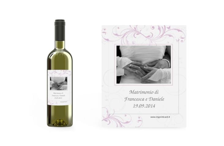 Etichette vino matrimonio collezione Palma Etikett Weinflasche 4er Set lila