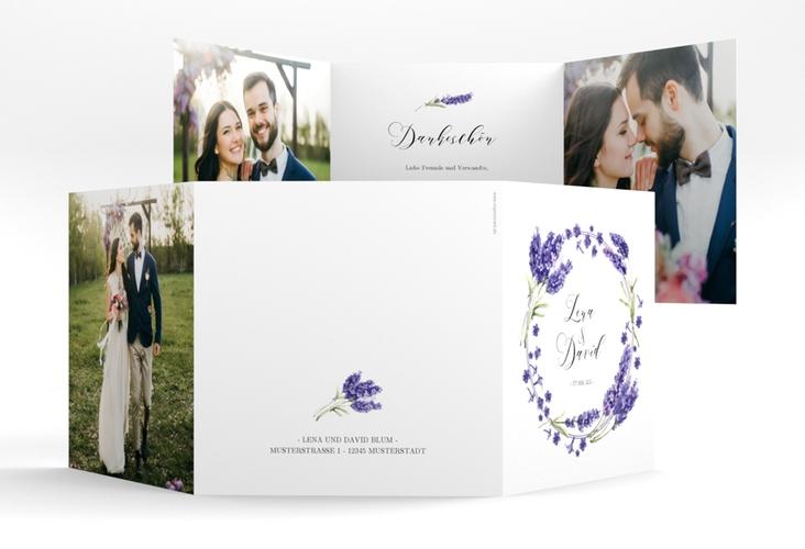 """Dankeskarte Hochzeit """"Lavendel"""" Quadr. Karte doppelt"""